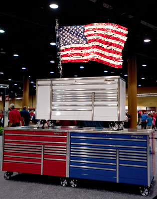 A special moment for the Snap-on Franchisee Conference was the unveiling of a tribute American flag made entirely of Snap-on tools. (PRNewsFoto/Snap-on Tools)