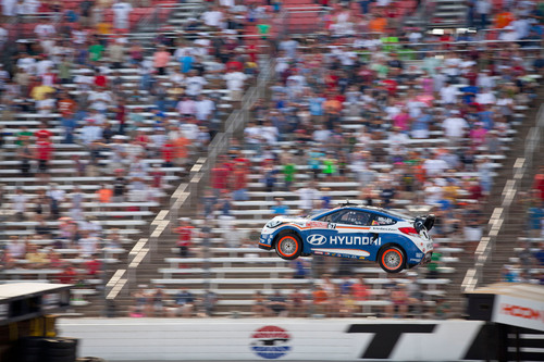 HYUNDAI AND RHYS MILLEN RACING TO COMPETE IN 2013 ESPN SUMMER X-GAMES GLOBAL RALLYCROSS SERIES WITH VELOSTER RALLYCAR.  (PRNewsFoto/Hyundai Motor America)