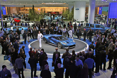 The Ford GT super car was a super star at the 2015 NAIAS, and drew huge crowds of enthusiastic fans throughout the show.