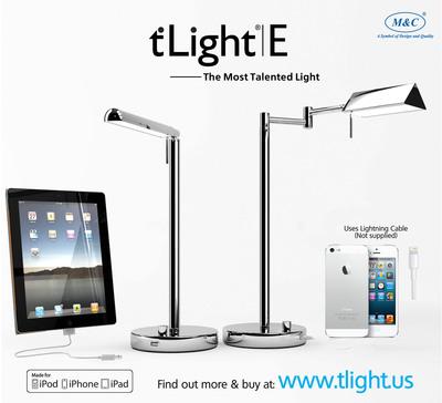 ◎モバイル充電ポート付きのLED卓上スタンドt'Light E発売  M & C Lighting