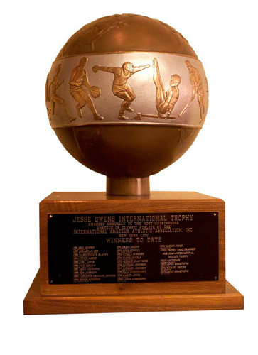 The Jesse Owens International Athlete Trophy, presented by the International Athletic Association. (PRNewsFoto/International Athletic Association) (PRNewsFoto/INTERNATIONAL ATHLETIC...)