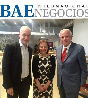 el Jefe de Gobierno de La Ciudad de Buenos Aires Horacio Rodriguez Larreta, en su reciente visita a la Ciudad del sur de la Florida, junto al Alcalde de Miami Tomas Regalado y autoridades locales.