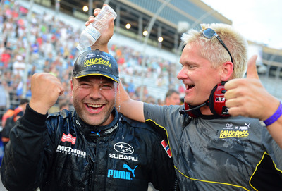 Sverre Isachsen of the Subaru PUMA RallyCross Team Celebrates his Second GRC Podium in a row at Atlanta Motor Speedway.  (PRNewsFoto/Subaru of America, Inc.)