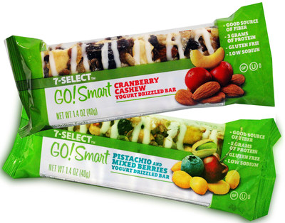Better for you and your New Year's health resolution, 7-Eleven just introduced two proprietary health bars as part of its 7-Select private-brand line. Weighing in at just under 200 calories, the 7-Select Go!Smart fruit and nut bars come in two varieties - Cranberry Cashew, and Pistachio and Mixed Berries.