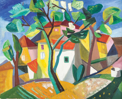 "From the Oprah Winfrey Collections, an Albert Bertalan painting, ""Cubist House"". To be sold at Leslie Hindman Auctioneers on April 25, 2015 as a part of the Property from the Oprah Winfrey Collections auction to be conducted by the Chicago based auction house."