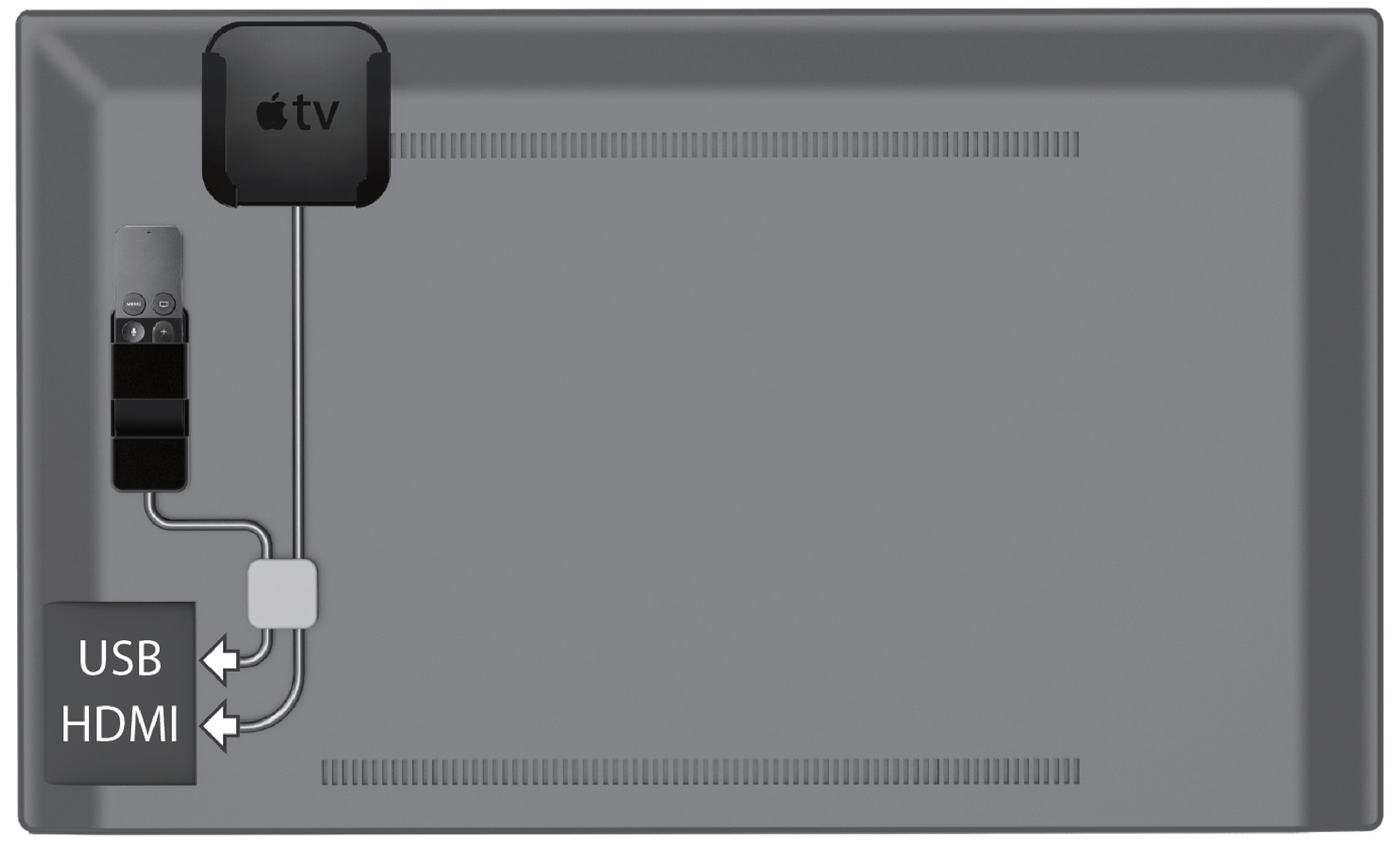 The Apple TV and remote are mounted to the back of a television with TotalMount. The USB and HDMI cables are easily managed using the TotalMount cord management system, which is included in the TotalMount Pro bundle sold in Apple stores worldwide.
