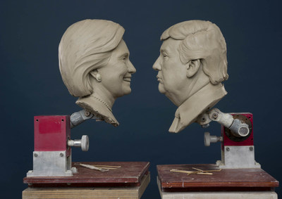 Madame Tussauds Washington, DC shares first photo of Clinton and Trump's clay head molds in the lead up to November's 2016 Election.