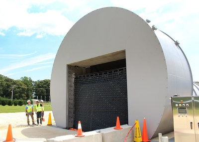 11´tall x 16´wide Flex-Wall(TM) challenged with 9´ of water at ILC Dover Flood Protection Test Facility in Frederica, DE.