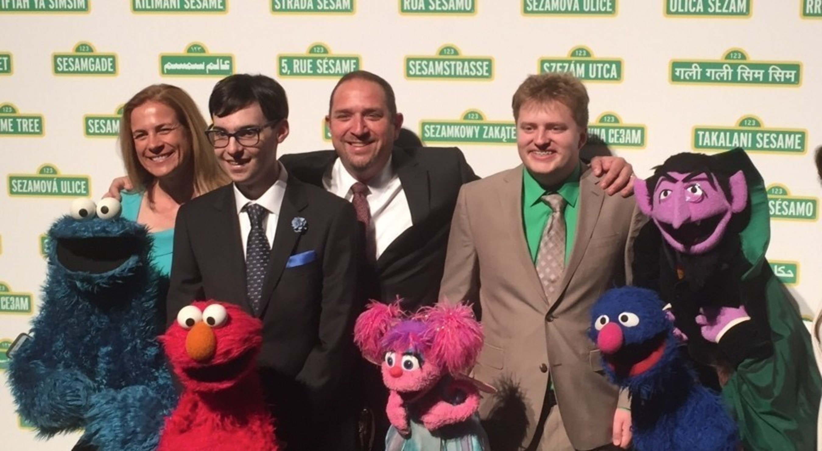 Elmo, Abby Cadabby, Cookie, Grover and the friends at Sesame Street awarded the Joan Ganz Cooney award to Exceptional Minds artists, shown here at the June 1 Sesame Gala event.