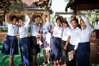 TATCHA founder Victoria Tsai with students in Room to Read's Girls' Education program in Siem Reap, Cambodia. (PRNewsFoto/TATCHA) (PRNewsFoto/TATCHA)