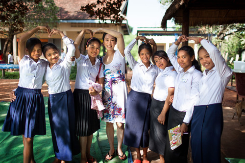 TATCHA founder Victoria Tsai with students in Room to Read's Girls' Education program in Siem Reap, ...