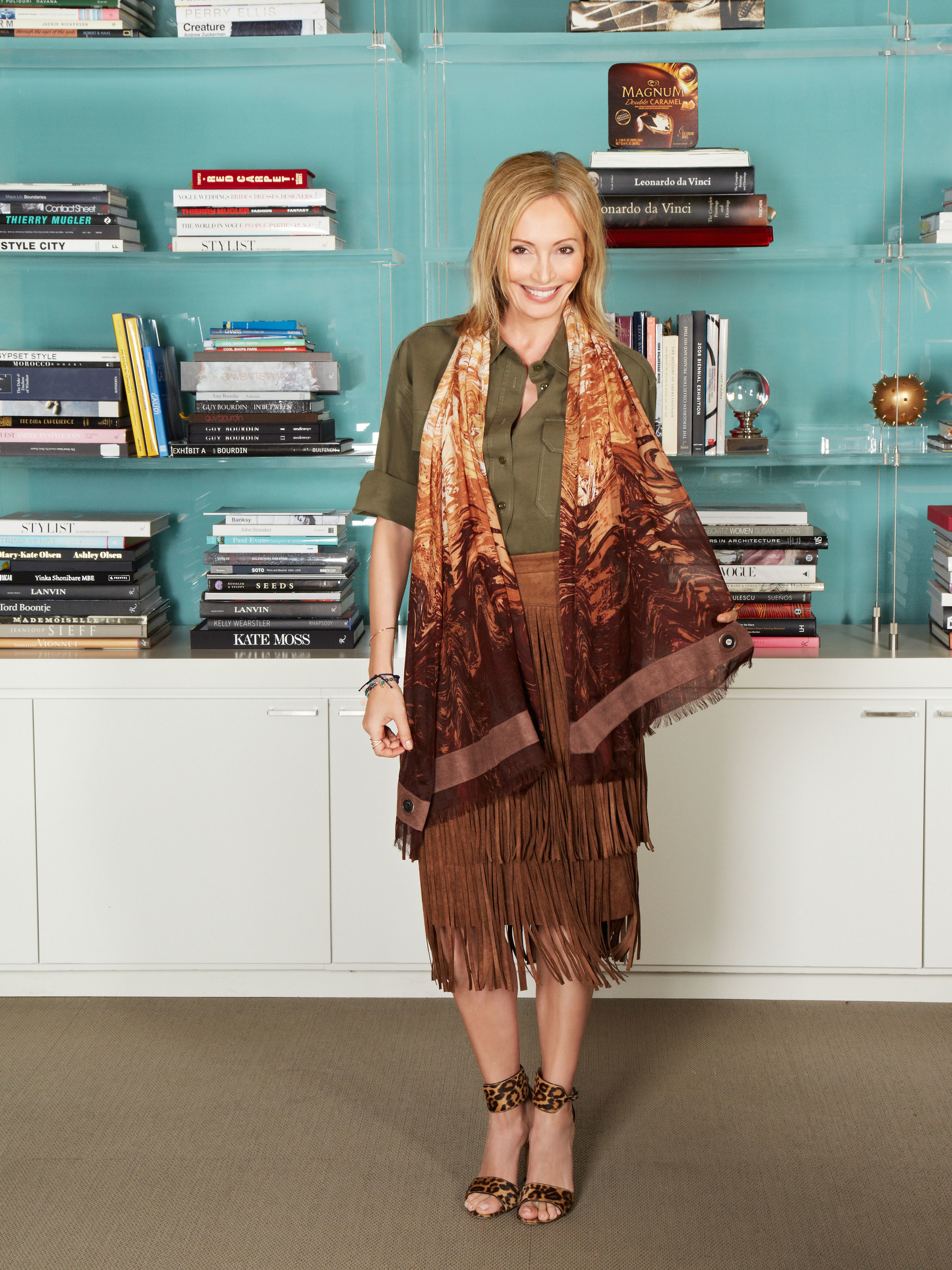 Lubov Azria, chief creative officer of BCBGMAXAZRIA, wears the BCBGMAXAZRIA for MAGNUM Belgian Chocolate Wrap, an innovative accessory infused with an aroma inspired by MAGNUM Belgian Chocolate.