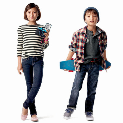 Today Gap introduced its GapKids 1969 Premium Jeans re-engineered with a focus on style and quality. Starting at $19.50, the new collection offers the most comfortable, long-lasting and versatile denim on the market. Pictured here is the Super Skinny fit for girls and the Straight fit for boys. The full collection is now available in stores nationwide and online at gap.com.  (PRNewsFoto/Gap Inc.)