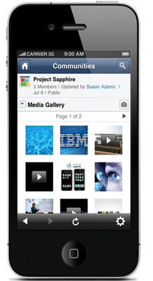 In addition to the popular File share application, Profiles, and Activities, Blogs and generate-and-vote-on-ideas features, workers can now take photos with their smartphones and upload them directly to IBM Connections. The apps for Apple iOS, BlackBerry, and Google Android are available now in the respective app stores. #ibmmobile.  (PRNewsFoto/IBM)