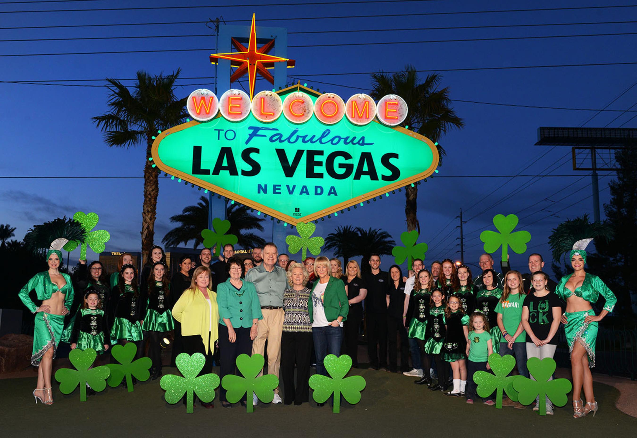 "The famous ""Welcome to Fabulous Las Vegas"" sign goes green for St. Patrick's Day. (PRNewsFoto/Las Vegas Convention and Visitors Authority (LVCVA)) (PRNewsFoto/LVCVA)"