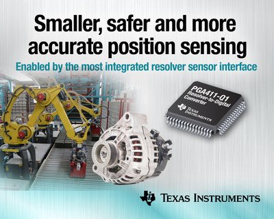 TI enables smaller, safer and more accurate rotary position sensing with the industry's most integrated resolver sensor interface.