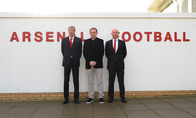 London - 27 January 2014: Bjoern Gulden CEO of PUMA, Ivan Gazidis CEO of Arsenal FC and Arsène Wenger Arsenal FC Manager, confirm a new long term partnership