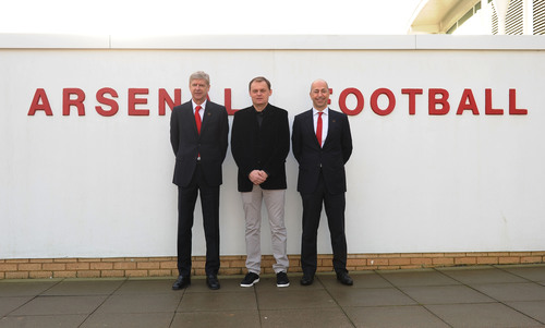 London - 27 January 2014: Bjoern Gulden CEO of PUMA, Ivan Gazidis CEO of Arsenal FC and Arsène Wenger Arsenal ...