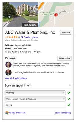 HomeAdvisor Instant Booking on Google Places' business profiles