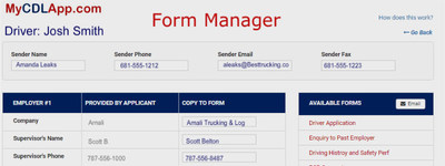 MyCDLapp.com includes a module that allows carriers to further accelerate the screening process for new applicants. The MyCDLapp Form Manager allows carriers to easily prepare the necessary consent forms and documents by allowing them to edit the contact information provided by the driver. The information supplied by the driver is copied to an editable table when the Form Manager is opened by the user. After reviewing the information provided by the driver the user can make necessary adjustments to duplicate data without affecting the original data supplied by the driver.