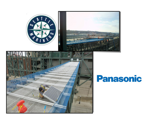Unique Double-Sided Panels Cover Skybridge at Safeco Field.  (PRNewsFoto/Panasonic)