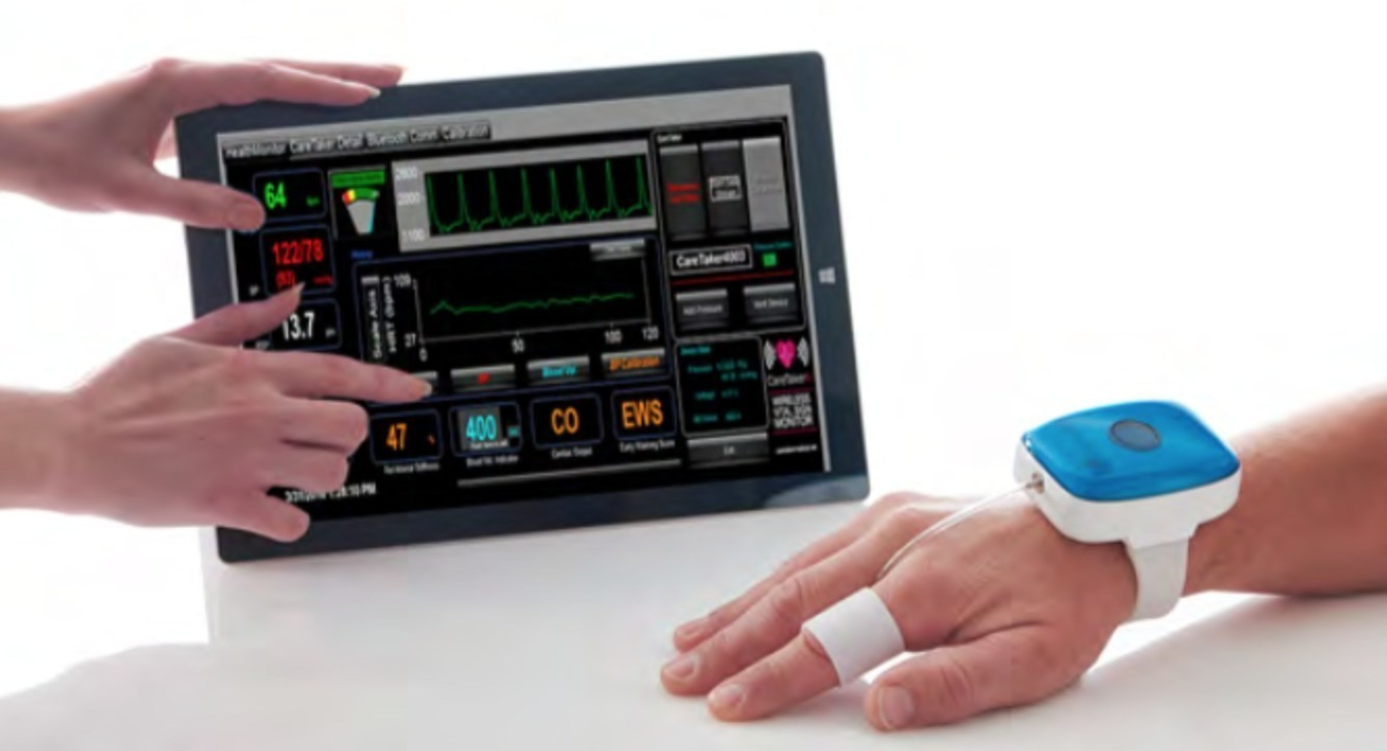 CareTaker Wireless Continuous Blood Pressure and Heart Rate Monitor with Finger Cuff Technology