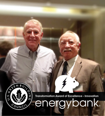 Milwaukee Mayor Tom Barrett congratulates energybank VP of Marketing and Communications Guy Peterson. USGBC - WI Chapter Transformation Award of Excellence for Innovation presented to energybank. www.energybankinc.com