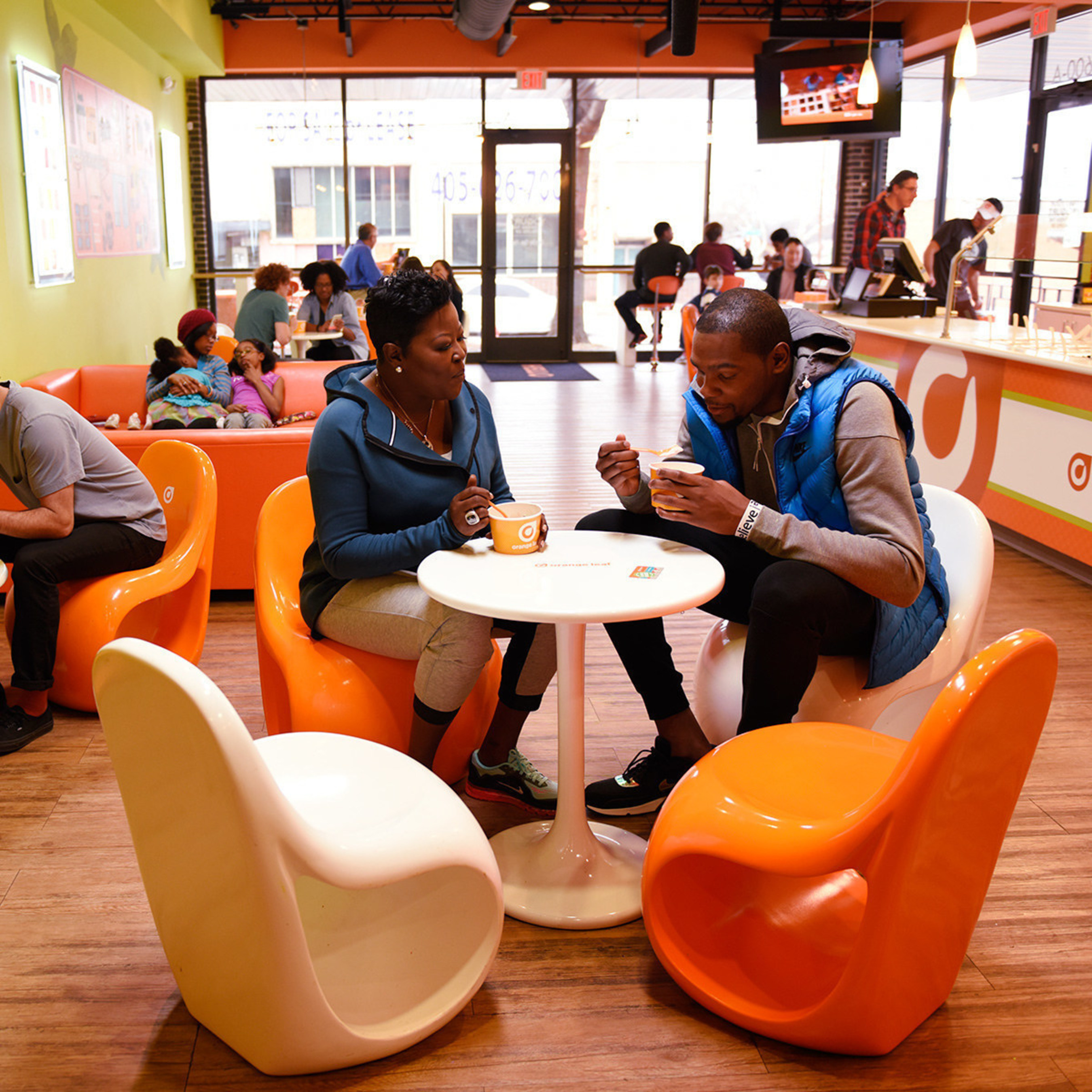 Kevin Durant And His Mom, Wanda Pratt, Join Orange Leaf Frozen Yogurt To  Honor