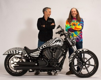 Cory Ness, left, and Rick Fairless, right, stand with the custom-built 2015 Allstate Victory Gunner bike