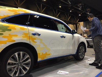 The Gateway Area Acura Dealers provide a brand-new 2016 Acura MDX to serve as a canvas for art-duo Rather Severe at the 2016 St. Louis Auto Show.