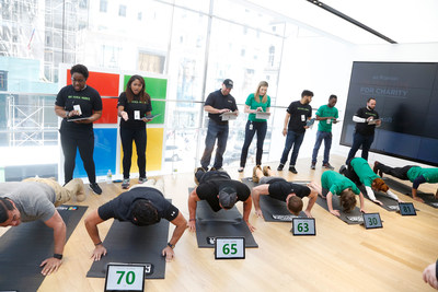 """In celebration of Military Appreciation Month, celebrities and athletes flex their muscles to support service members at Microsoft Military Affairs and Boot Campaign's Pushups for Charity event at the Microsoft Flagship Store in New York on May 16, 2016. Participants include J.W. Cortes, Marine veteran and actor on FOX TV's """"Gotham""""; Steve Weatherford, Super Bowl Champion, 10-year NFL player and fitness expert; Chris Ryan, top fitness model and trainer on NBC's """"STRONG""""; and Vincent Pastore, Navy veteran, actor and Salvatore Bonpensiero on the HBO series """"The Sopranos."""""""