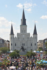 Thousands gather in New Orleans historic Jackson Square to enjoy live music, food and fun at the annual French Quarter Festival.  (PRNewsFoto/New Orleans Convention & Visitors Bureau, Courtesy: Pat Garin)