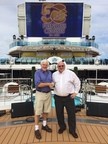 David Molyneaux (left), president of the Society of American Travel Writers Foundation, and Roger Frizzell, senior vice president of corporate communications and chief communications officer for Carnival Corporation, announce that the world's largest cruise company is the SATW Foundation's first gold supporter of the prestigious Lowell Thomas Travel Journalism Competition.