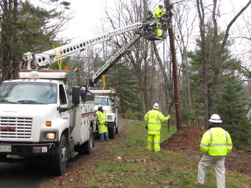 Verizon crews from Maryland repairing communications lines in Morris County, N.J., as part of a massive restoral effort after Hurricane Sandy.  (PRNewsFoto/Verizon)