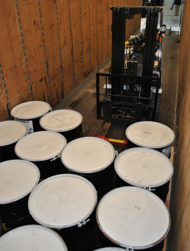 Yellowcake drums being loaded for shipment at Lost Creek.  (PRNewsFoto/Ur-Energy Inc.)