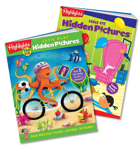 Highlights Hidden Pictures Club includes two levels of find-it fun: Let's Play for ages 3 to 6 and Eagle-Eye for ages 6 and up.  (PRNewsFoto/Highlights)
