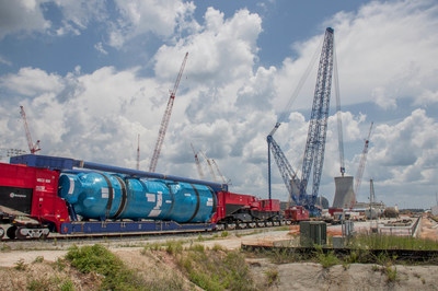 The 650-ton Vogtle Unit 3 Steam Generator A, assembled in South Korea and delivered to the Vogtle nuclear expansion site this week.