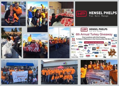 Hensel Phelps staff and community partners participate in sixth annual Thanksgiving Turkey Giveaway. (Photo credit: Hensel Phelps)
