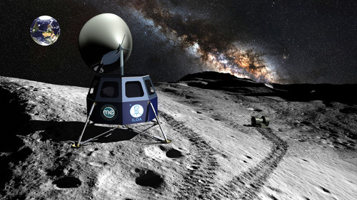 The International Lunar Observatory will be delivered by Moon Express to a Malapert Mountain site near the Moon's South Pole for Galaxy / astronomy observation and communication.  (PRNewsFoto/International Lunar Observatory Association and Moon Express, Inc.)