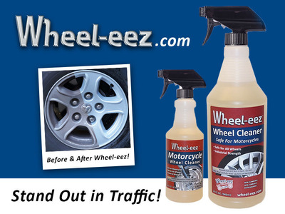 Cork Industries introduces new noncorrosive, environmentally friendly wheel cleaner.  Wheel-eez formulas developed for car washes, motorcycles, and autombiles.  (PRNewsFoto/Cork Industries, Inc.)