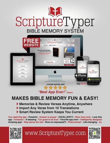 Scripture Typer Bible Memory System. (PRNewsFoto/Millennial Apps LLC) (PRNewsFoto/MILLENNIAL APPS LLC)