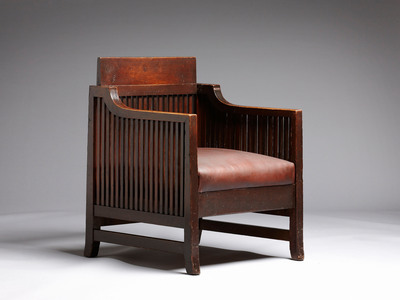 Oak Reception Chair from Frank Lloyd Wright's Oak Park Studio, featured at The SC Johnson Gallery: At Home with Frank Lloyd Wright as part of the debut exhibit that explores the legendary architect's influence on families and the American home.  (PRNewsFoto/SC Johnson)