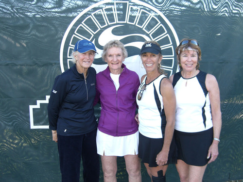 Les Grandes Dames Tennis Tournament Celebrates 20th Anniversary at BallenIsles. The international tournament which exemplifies a legacy for the sport of tennis brings together more than a hundred players in age groups from 30 all the way to 80 years old. Many are national senior women title holders and world champions. From left:  Women's 60s Doubles finalists Trish Faulkner and partner Charleen Hillebrand with winners Lil Peltz-Petow and partner Jan Kirkland-Cochran.  (PRNewsFoto/BallenIsles Country Club)