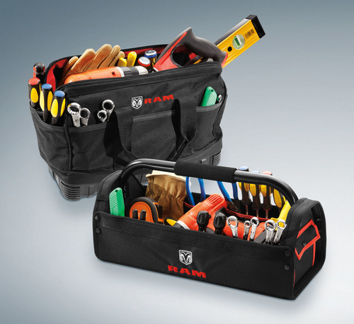 A Ram Tool Bag and Caddy is among the Mopar items available to customize the all-new 2015 Ram ProMaster City ...