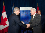 Pictured here: The Right Honourable Stephen Harper with Michael Sheridan of Ford Motor Company at the CABC Business Roundtable held on the margins of the NATO Summit in Chicago, Illinois.  (PRNewsFoto/Canadian American Business Council)