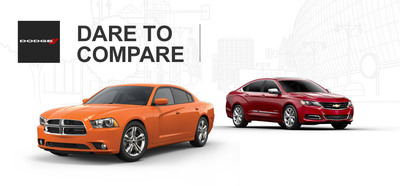 Ingram Park CDJ compares the 2014 Dodge Charger and 2014 Chevy Impala. (PRNewsFoto/Ingram Park CDJ)