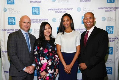 Philippe S. Friedlich, M.D., Christina Camiling from New York Life, actress Zoe Saldana, and Raj Dasgupta, M.D. at the Brave Beginnings Superheroes Sidekick Symposium to help raise awareness of the need for life-saving medical equipment in Neonatal Intensive Care Units (NICUs) nationwide.