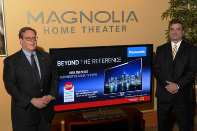 (From left to right) Panasonic Consumer Marketing Company of North America's Henry Hauser, Vice President, Merchandising Group, and Dennis Eppel, Senior Vice President, Sales, marked the arrival of Panasonic's critically-acclaimed Smart VIERA(TM) ZT60 Series Plasma HDTVs exclusively through approximately 400 Magnolia locations inside Best Buy now through July 31.  (PRNewsFoto/Panasonic)
