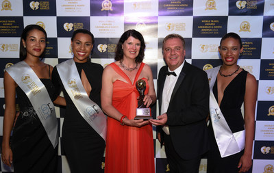 Ms. Margaret A. Benua, Chair of the Board, Miami Beach Visitor and Convention Authority and Chris Frost, Vice President, World Travel Awards at the 2016 Caribbean & North America Gala Ceremony (Photo Credit: World Travel Awards)