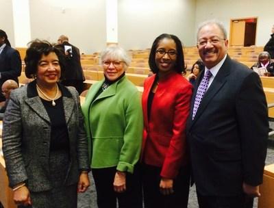 (L-R): Dr. Edith P. Mitchell, Dr. Wilfreta Baugh, Dr. Cara James; Congressman Fattah